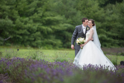 Wedding couple at Lavendar Farm