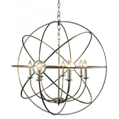A unique hanging light fixture from Hockman Interiors with interlocking metal circles, an open frame and imitation candles