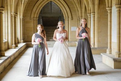 bride with bridesmaids Wedding film surrey & kent