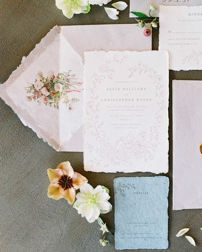 Plume & Fete romantic fine art custom wedding invitations on handmade paper