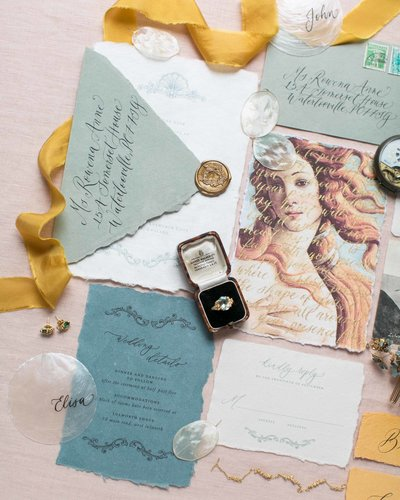 coastal inspired wedding invitations for destination wedding by Dominique Alba (Plume & Fete)