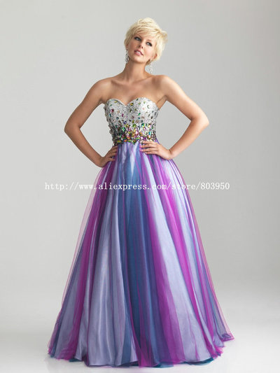 Strapless-Sweetheart-Silver-Sequin-Color-Crystal-Tulle-A-Line-font-b-Prom-b-font-Evening-font