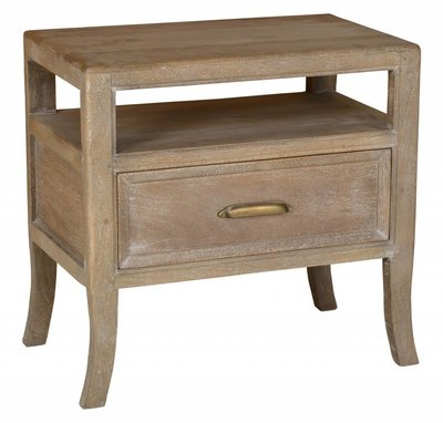 Light wood end table with brass handle at Hockman Interiors