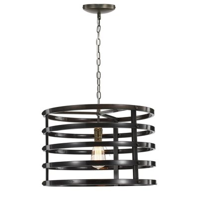 Iron chandelier with open circular frame at Hockman Interiors