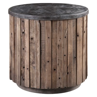 "Circular end table with a rustic ""barn"" style, made out of wood base and metal top from Hockman Interiors"
