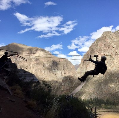 Ziplinging Down from Sleeping Pods - Sacred Valley, Peru