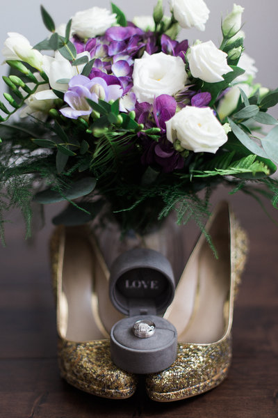 Jess Collins photography destination wedding photographer wedding day details photo of bridal bouquet and vera wang diamond ring
