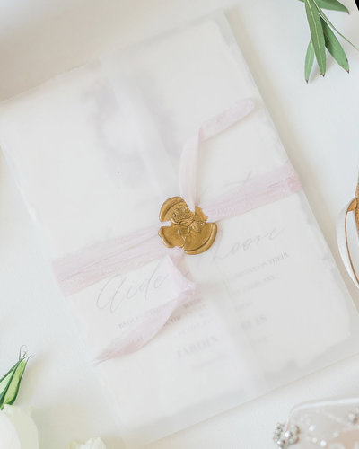 Plume & Fete wedding invitations embellishments vellum wrap