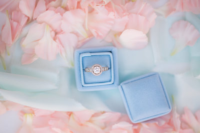 engagement ring with flower petals-1