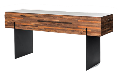 Simple, modern, black and tan console from Hockman Interiors