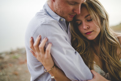 Couple embraced during engagement session