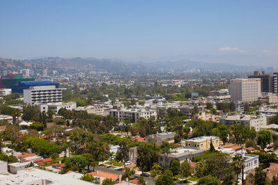 Rooftop view from the Four Seasons Beverly Hills wedding photo by Gilmore Studios