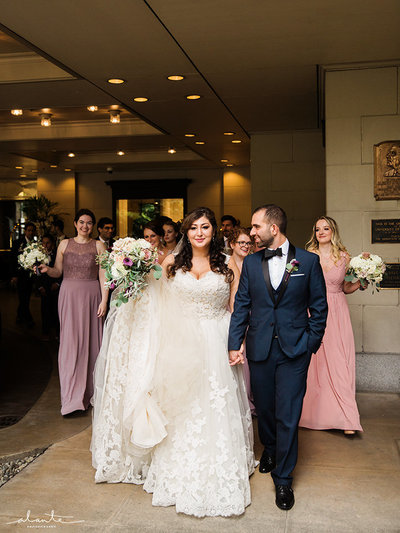 Bride and Groom with Bridal Party outside of Fairmont Olympic Hotel Downtown Seattle wedding