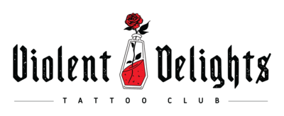 A black and red logo for Violent Delights Tattoo Club and a coffin shaped poison bottle and rose.