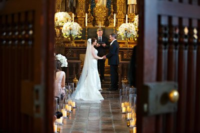 Bride and Groom getting married at St Francis Chapel in Balboa Park
