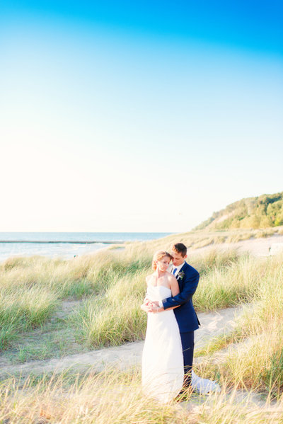outdoor summer wedding on the beach in northern mchigan