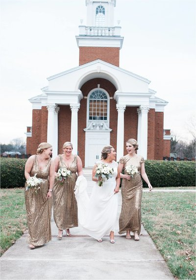 Wedding photography | Bride and bridemaids in front of church