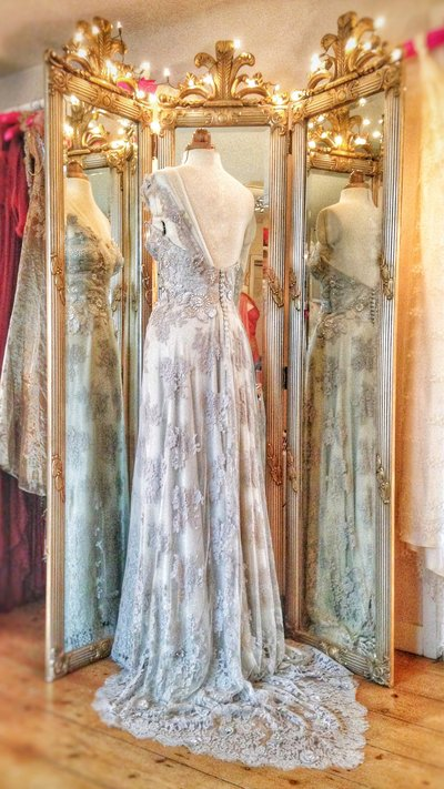 Halcyone_french_grey_lace_wedding_evening_dress_JoanneFlemingDesign