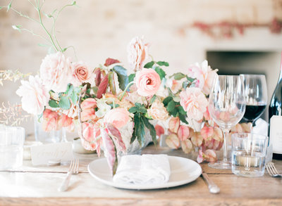 Blush Pink Rustic Wedding Reception Centerpiece at Sunstone Villa Santa Ynez Wine Country Wedding - Nicolette Camille Floral Designer