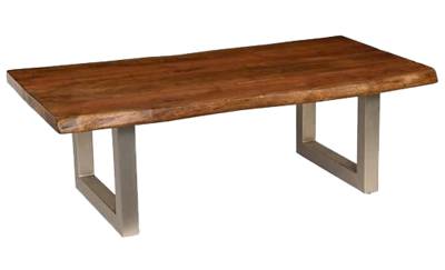 Wooden coffee table with metal base at Hockman Interiors