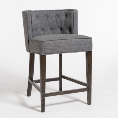 Grey dining stool with upholstered fabric and rectangular backrest from Hockman Interiors