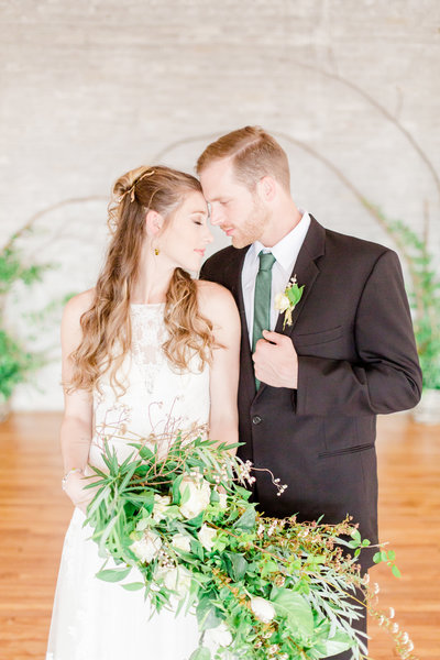 organic industrial greenery wedding in baltimore