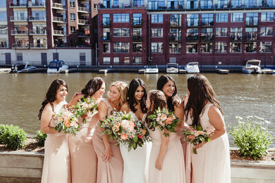 Happy Bridesmaids and Bride