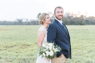 Bride and Groom - Rustic Farm Wedding in Alabama