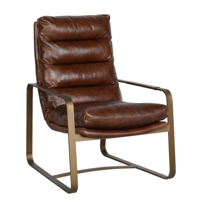Brown leather chair with metal armrests, sold at Hockman Interiors