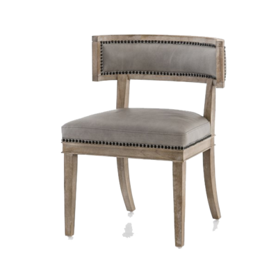 Grey leather and natural wood dining chair with studded embellishments and cut-out back from Hockman Interiors