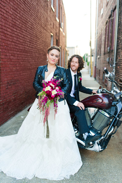 An edgy Baltimore Bride poses for Ashton Kelley Photography