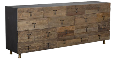 Natural wood console with drawers at Hockman Interiors