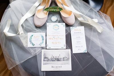 Baltimore invitation suite Belmont Manor ballet shoes bride