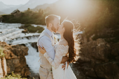 National Park Elopement Couple Kissing at Sunset