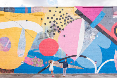 hense mural colorful engagement session
