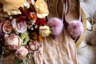 Dried and Fresh Flowers in a Bridal Bouquet with Wedding Shoes, Wedding Day Details photographed by Washington DC Wedding Photographer, Erin Tetterton