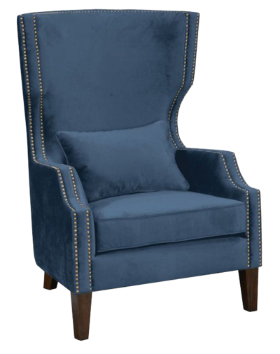 A soft, navy, club-style chair with studded embellishments from Hockman Interiors