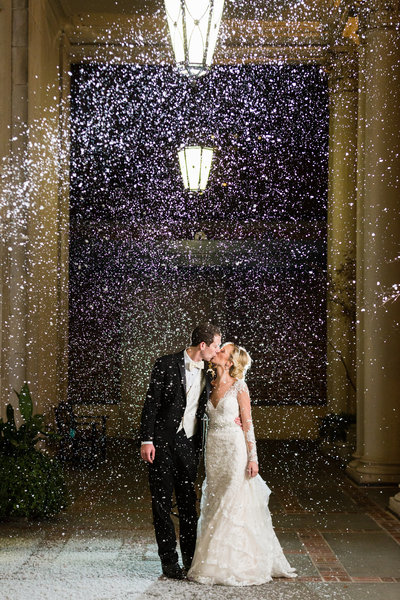 Bride and groom with epic night lighting