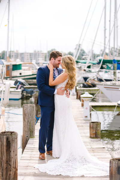 Annapolis maritime museum wedding bride and groom on dock