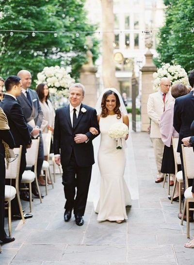 Father walking bride down aisle at St. Regis Hotel in Washington DC