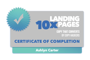 10x Landing Pages - Badge of Completion -  Ashlyn Carter
