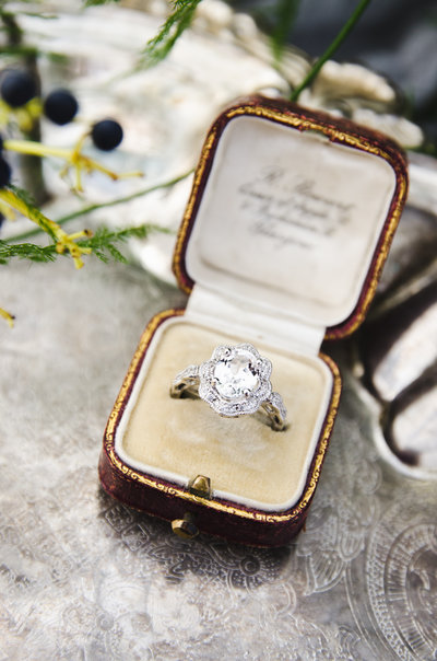 This white sapphire set in sterling silver is a gorgeous diamond alternative!