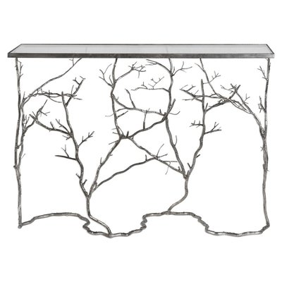 "Hockman Interiors ""Winter Branches"" console with metal base and frosted glass"