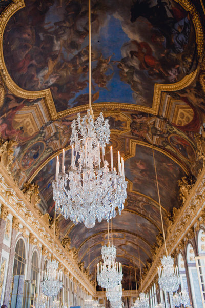 Hall of mirrors in versailles are included in Kate's Editorial Travel Photography.