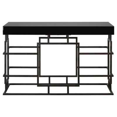 Black console with open frame base and rectangular top from Hockman Interiors