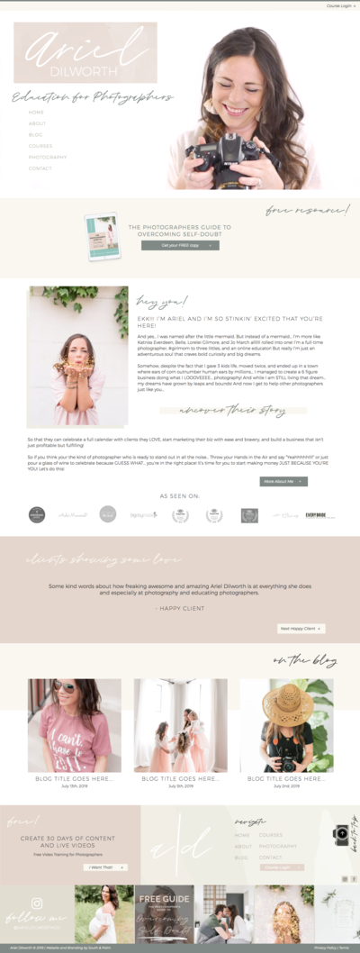 Custom Showit Web Design for Ariel Dilworth by South and Palm Branding Boutique and Web Design Studio in Jupiter, Florida