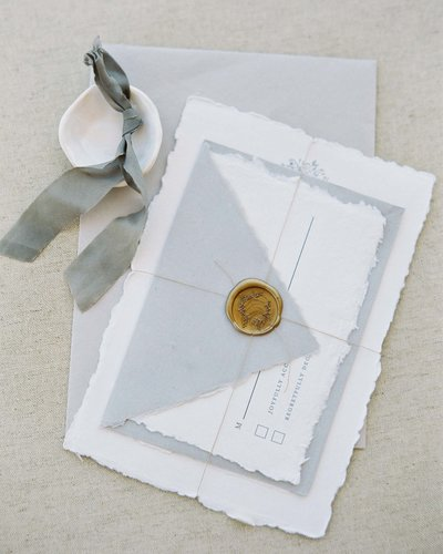 Plume & Fete wedding invitation suite wax seals and twine