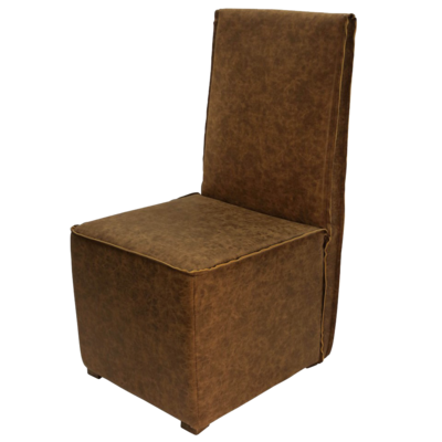 Hockman Interiors armless dining chair made from tan leather