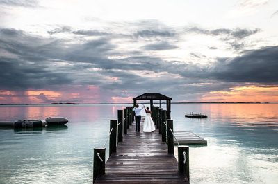 Bride and Groom on Dock - Harbour Island Bahamas