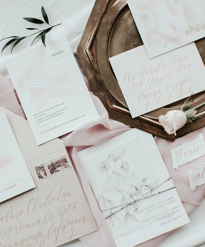 Plume & Fete minimal and modern blush invitation suite